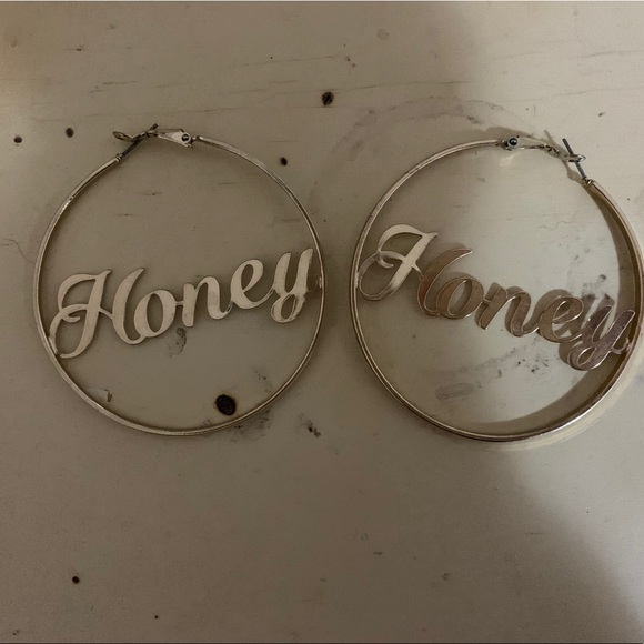 "Urban Outfitters Jewelry - Urban Outfitters ""Honey"" slogan earrings."